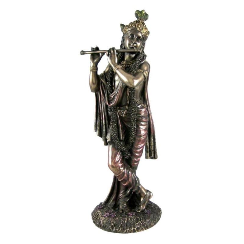 "KRISHNA STATUE 9.5"" Hindu God of Divine Love Deity High Quality Bronze Resin"