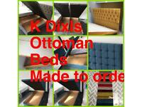 K Dixls ottoman storage divan beds and large floor standing headboards made to order from only £369