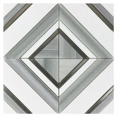 Modern Diamond Square Gray Black White Marble Mosaic Tile MTO0527
