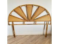 Vintage cane/bamboo/rattan/wicker double headboard