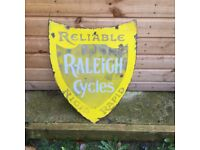 Raleigh enamel shield sign