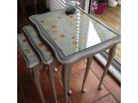 Nest of tables shabby chic style hand painted