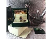 New Rolex datejust with gold bracelet and black face comes complete with bag box and paperwork