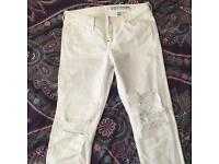 H&M White Distressed Mom Jeans