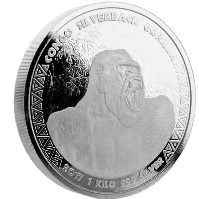 2017 1 KILO Congo Silverback Gorilla .999 Silver Coin BU #A432