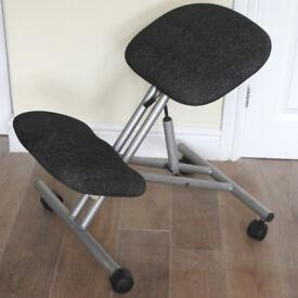 Kneeling Orthopaedic Ergonomic Metal Posture Office Stool Chair Seat Grey Pads