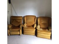 3 yellow Parker Knoll armchairs 2 manual recliner chairs