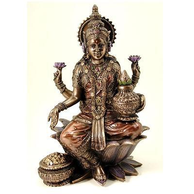 "LAKSHMI STATUE 7"" Seated Hindu Wealth Goddess Bronze Resin HIGH QUALITY Laxmi"