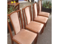 Splendid Vintage Retro Dining Set of 4 Danish Teak Dining Chairs Designed & Crafted By Meredew