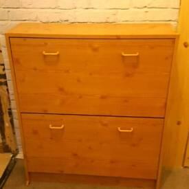 Vintage Wooden Shoe Cabinet Organizer