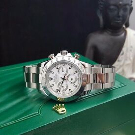 New boxed & bagged silver strap white face rolex daytona