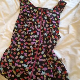 Black and coloured heart top. Size 14