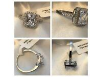 Woman sterling silver 925 rings with platinum overlay