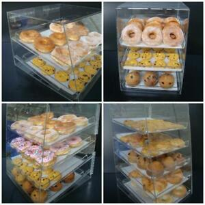 Acrylic Pastry Bakery Donuts Bagels Cookie Display Case w/ trays CUPCAKE stand - 4 Sizes - FREE SHIPPING