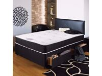 Deluxe divan bed set including 10 inch luxurious mattress headboard and two drawers! Free delivery!