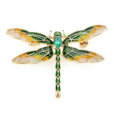 "CUTE DRAGONFLY PIN 1.5"" Gold Green Yellow Enamel Brooch Rhinestone Insect Bug"