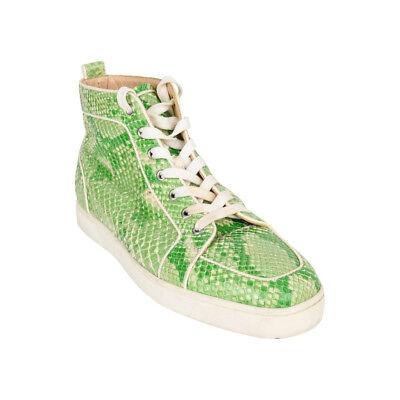 Christian Louboutin Green Rantus Orlato Flat Snakeskin Crystal  44 / 11  mint