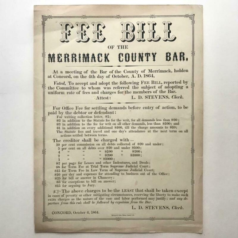 1864 BROADSIDE PRICE FIXING MERRIMACK COUNTY NEW HAMPSHIRE ATTORNEY LAWYER FEES