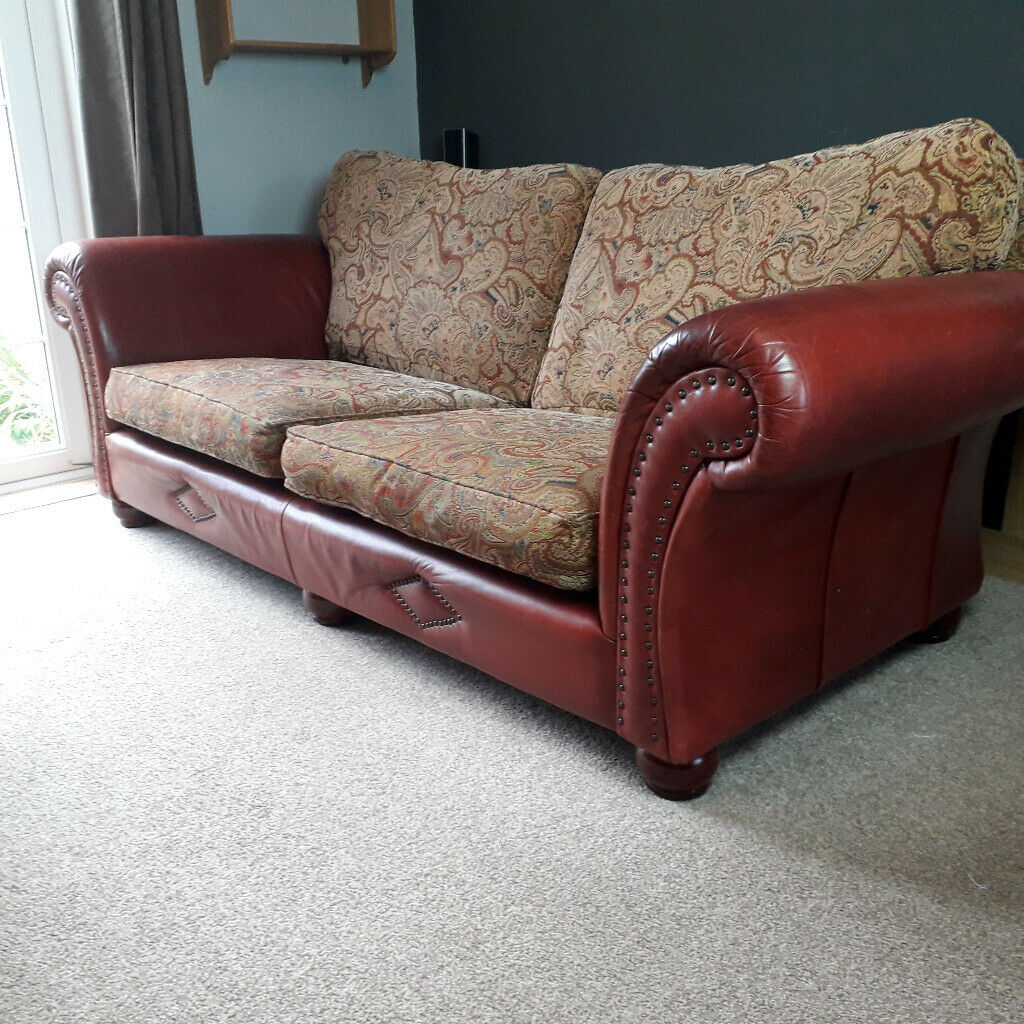 Fabric Sofa Large 3 Seater Red Paisley