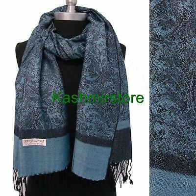 New Pashmina Paisley Floral Silk Wool Scarf Wrap Shawl Soft Classic Blue/black