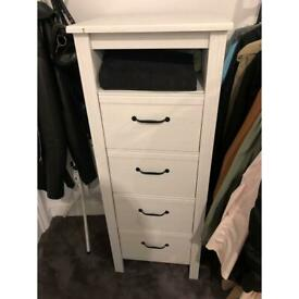 White wood Wardrobe/storages with 4 drawers