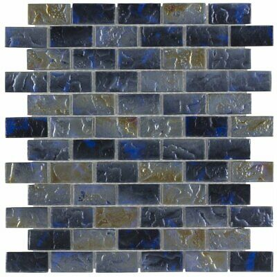 Classic 1X2 Brick Blue Gray Frosted Glossy Glass Mosaic Tile MTO0089