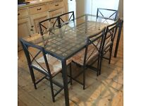 Glass top dining table with 6 chairs (780x1500x760h)