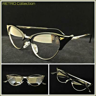 Classy 60s Retro Cat Eye Style Clear Lens EYE GLASSES Black & Gold Fashion (Gold Cat Eye Glasses)