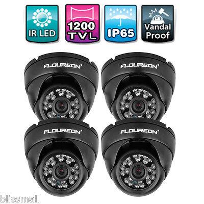 4X FLOUREON 1200TVL Outdoor Indoor CCTV Security Dome Camera IR LED Night Vision