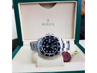 New Silver Rolex Submariner with Black Face and Black Ceramic Bezel Comes R8lex Bagged and Boxed
