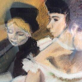 Original Fine Art Ballerinas Painting Ballet Picture Professionally Framed