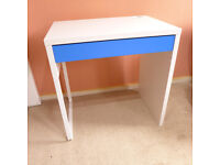 Small IKEA Desk, White and Blue, Perfect Condition, As New