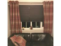 Next red tartan curtains and pair of cushions