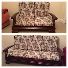 2 &3 seats mahogany wooden sofas