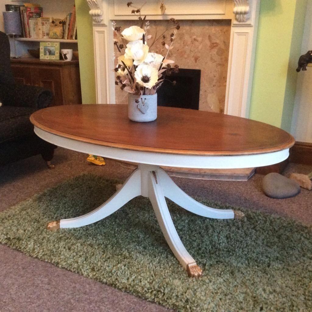 Bradley Yew Refurbished Oval Coffee Table