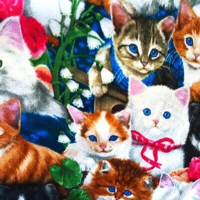 CUTE CATS PRINT Fleece Fabric KITTENS ALL OVER 60