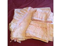 Unused double duvet cover and 4 pillow cases, pink and frilly