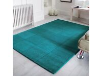 NEW Oakland Pure Wool Squares Teal Green Rug - 75x150cm Central London