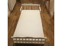 Saplings junior bed with mattress, white, excellent condition, easy to assemble - must collect