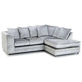SPECIAL OFFER SWISS CRUSHED VELVET DYLAN CORNER SOFA BRAND NEW /SAME DAY DELIVERY ALL OVER LONDON