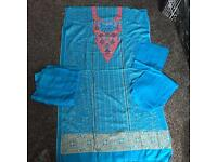 Ladies 4 piece unstitched salwar kameez blue