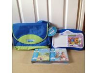 Never used: Leapfrog Leap Pad system with carry case and 3 interactive books
