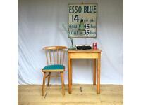 Adult compact mid century school exam desk 1960s beech wooden
