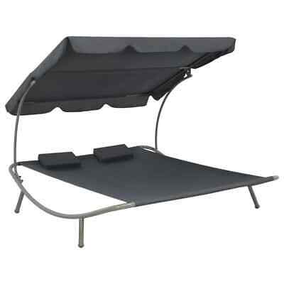 Garden Furniture - vidaXL Patio Double Sunlounger w/ Canopy Gray Garden Pool Day Sun Bed Lounge