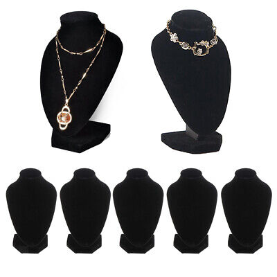 5 Lot Black Velvet Necklace Display Stands Shop Store Jewelry Figure Holder