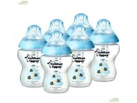 NEW Tommee Tippee Closer to Nature 260ml Blue Decorated Baby Feeding Bottles 3 Pack