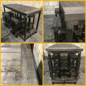 Industrial Breakfast bar/4x stools/Rustic/Reclaimed/Furniture/Bistro/coffee shop/cafe/pub/bespoke