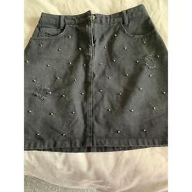 Denim black skirt size 8