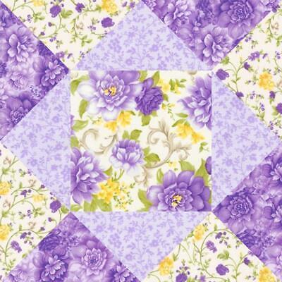 Beckford Terrace Purple Yellow Violet Rose Floral Pre-cut Quilt Kit Block -