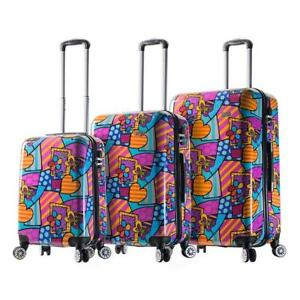 "Mia Viaggi Pop Butterfly Love Flower Hardside Spinner 3pc Set - 20"", 24"" & 28"""